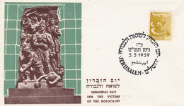 MEMORIAL DAY FOR THE VICTIMS OF THE HOLOCAUST, VICTIMES DE L'HOLOCAUSTE. ISRAEL SPC 5.5.1959 JERUSALEM.- LILHU - Monuments
