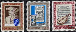 Portugal, 1974, Mi 1228-1230, The 400th Anniversary Of The Death Of Damião De Góis, Lute & Musical Notation, 3v, MNH - Music