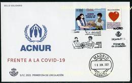 ESPAÑA SPAIN (2021) UNHCR ACNUR Frente A La COVID 19, Agencia ONU Para Los Refugiados, Sello Solidario - FDC - FDC