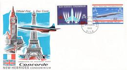 New Hebrides FDC 1968 Concorde (DD29-8) - Concorde