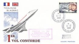 France Cover Posted Toulouse Blagnac Aerogare 2.3.1969 1er Vol Concorde (DD29-8) - Concorde