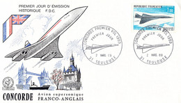 France FDC 1969 Concorde - Posted Toulouse (DD29-8) - Concorde