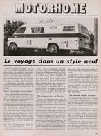 Article Papier 3 Pages MOTORHOME Novembre 1973   SM P1058001 - Unclassified
