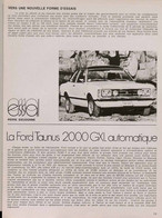 Article Papier 6 Pages FORD TAUNUS 2000 GXL Novembre 1973   SM P1058002 - Unclassified