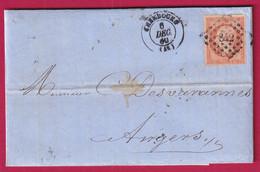 N°16 PC 842 CHERBOURG MANCHE POUR ANGERS MAINE ET LOIRE - 1849-1876: Klassieke Periode