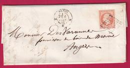 N°16 PARIS BUREAU K BATON POUR ANGERS MAINE ET LOIRE - 1849-1876: Klassieke Periode
