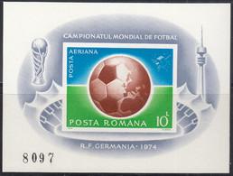 RUMÄNIEN  Block 115, Postfrisch **, Fußball WM, 1974 - Blocs-feuillets