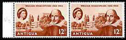 Antigua 1964 400th Birth Anniversary Of Shakespeare 12c Horiz Pair, One Stamp With 'retouch Between Trees' (R6/2) Unmoun - Antigua En Barbuda (1981-...)