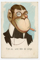 """Humour,singe Gentleman De Forme Humaine.  Monkey.  Cigare, Monocle. """" T'en As Une Tête De Singe """" - Dressed Animals"""