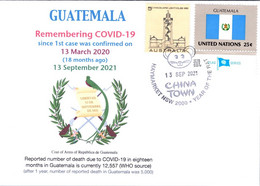 (2A34) 1st Case Of COVID-19 Reported To WHO In Guatemala (18 Month Ago 13-3-2020)(Guatemala TAG Flag Stamp) - Krankheiten