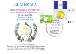 (2 A 34) 1st Case Of COVID-19 Reported To WHO In Guatemala (18 Month Ago 13-3-2020) (Guatemala Coin & Flag Stamp) - Krankheiten