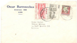 Peru 1956, Letter Sent From Miraflores To Lima. 3 Cent Stamp With Surcharge - Peru