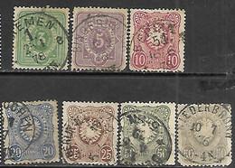 Germany    1875-7  Sc#29-35  Set Of 7 Used   2016 Scott Value $55.40 - Usados