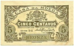 CÉDULA De 5 Centavos 1918 - SÉRIE DZ - Pick 99 - M. A. N.º 7.a - CASA Da MOEDA Portugal Emergency Paper Money Notgeld - Portugal