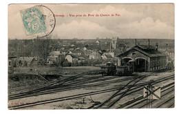 Esternay , Vue Prise Du Pont Du Chemin De Fer - Stations - Met Treinen