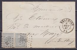 """L. Affr. Paire N°17 Lpts """"32"""" Càd BEAUMONT /6 AOUT 1867 Pour MAZY Près Gembloux - Boîte Auxiliaire """"DL"""" (au Dos: Càd Arr - 1865-1866 Profil Gauche"""