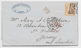 FRANCE  N° 16 LETTRE COVER LOSANGE J PARIS JJ 1861 POUR ST HELIERS JERSEY - 1849-1876: Klassik
