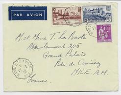 FRANCE  N° 391+391+281 LETTRE BATEAU AVION C. OCTOG MARSEILLE A KOBE N°6 17.2.1939 POUR NICE - Posta Aerea