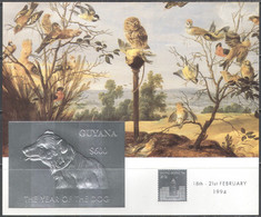 M3903 ✅ Art Painting Pictures Birds Dogs SILVER Optd. 1994 Guyana S/s MNH ** 50ME Imp Imperf - Dogs