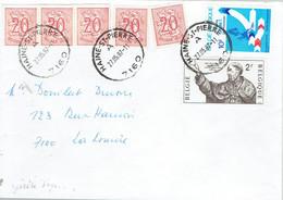 Spectaculaire Affranchissement De 7 Timbres (de Haine-Saint-Pierre à La Louvière, 27/05/1987) - Curiosidades