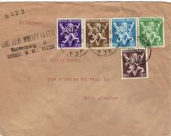 """Spectaculaire Affranchissement De 5 Timbres """"Lion Héraldique"""" Tous Différents (16/9/1945) De Bruges à Bois-d'Haine - Curiosidades"""