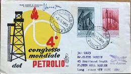 Italie - Rome - FDC - Journée Mondiale Du Pétrole - Liaison Aérienne - Pour New York (USA) - 1955 - 1946-60: Gebraucht