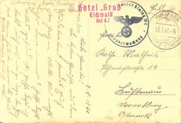 Postcard Stalag IV C Pihanken Uber Teplitz-Schönau 8.8.1941 Eichwald Red Handstamp WWII POW Censorship Censure Geprüft - Cartas