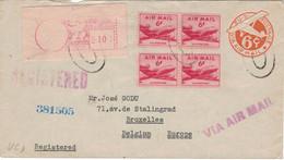 Ganzsache Zufrankierung Meterstamp Reko 1951 > Godu - Av. Stalingrad - Bruxelles Via NY - Tarnstempel - 1941-60
