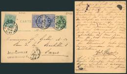 EP Au Type 5ctm Vert + N°26 Et 27 X2 Expédiée De Gand (station) > Paris  / Texte. - Postcards [1871-09]