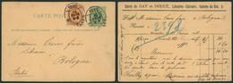 """EP Au Type 5ctm Vert Piquage Librairie + N°28 Cachet Pour Imprimé """"Bruxelles"""" (1882) > Bologne (Italie) - Postcards [1871-09]"""