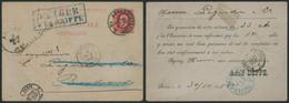 """EP Au Type 10ctm Rouge Obl Simple Cercle """"Anvers (Station)"""" + Encadré Bleu RETOUR A LA GRIFFE > Bordeau / Inconnu - Postcards [1871-09]"""