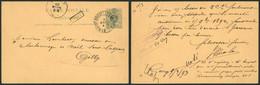 "EP Au Type 5ctm Vert Obl Ambulant ""Ambt Brux-Arlon N°1"" (1893) + Griffe Encadrée CINEY > Gilly - Postcards [1871-09]"