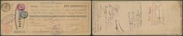 """Mixte (émission 1883 / 84) Sur Effet De Commerce Obl S.C. """"Bruxelles 7"""" / Galvanisation, Plombage - 1883 Leopold II"""