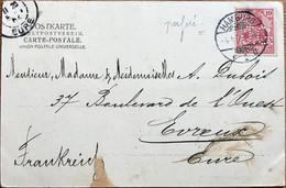 Allemagne - Hambourg - Carte Postale - Navire - Pour L'Eure (France) - Timbre Perforé - J.G. - 4 Janvier 1904 - Usados