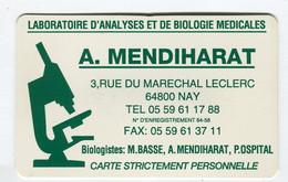 Carte De Visite °_ Plastique-LAM Biologie-A.M-64 Nay - Visitekaartjes