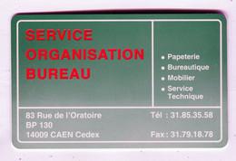 Carte De Visite °_ Plastique-Service Organisation Bureau-Bureautique-14 Caen - Visitekaartjes