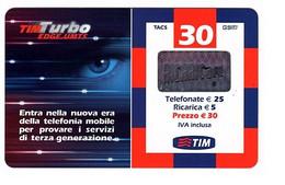 Ricarica TIM TURBO, TUR30-M ETU-D2, Taglio 30,00 Euro, Scadenza Dic 2006, PIN In Rilievo, Usata - GSM-Kaarten, Aanvulling & Voorafbetaald