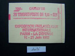 2187-C4a CONF. 8 CARNET DATE DU 15.12.81 FERME 20 TIMBRES LIBERTE DE GANDON 1,60 ROUGE PHILEXFRANCE 82 - Uso Corrente