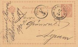 Bosnie Entier Postal Bosn. Dubica 1889 - Bosnië En Herzegovina