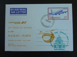 Aerogramme Tour Du Monde Concorde Bahamas Paris 1987 Air France Ref 99418 - Concorde