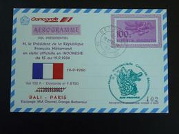 Aerogramme Vol Presidentiel Concorde Voyage François Mitterrand à Bali 1986 Air France Ref 99420 - Concorde