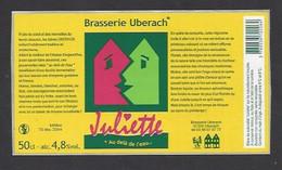 Etiquette De Bière 50 Cl  -  Juliette   -  Brasserie Ubérach à Uberach  (67) - Beer
