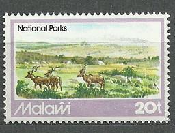 Malawi, 1982 (#374d), Wildlife, National Parks, Mountains, Village, Antelopes, Nature, Tierwelt - 1v Single - Game