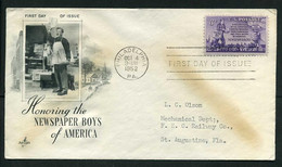 USA 1952 Newspaper Boys, Torch And Group Of Homes | Art Craft FDC - 1951-1960