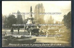 FOTO CARTOLINA TRENTO MESSA DI CAMPO IN PIAZZA DANTE 10/11/1918 TRENTO REDENTA PRIMA GUERRA - Trento