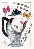 18 Mars 2001 MALESHERBES (Loiret) 12° Bourse De La Carte Postale. Papillons. Signée Au Verso J. LUC - Beursen Voor Verzamellars