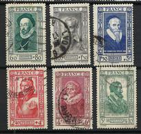FRANCE Célébrités 1943: Les Y&T 587-592, Obl. CAD - Gebraucht