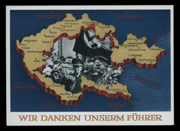TREASURE HUNT [03189] Germany 1938 6 Pf Ill. Post Card (Map Of Germany With Hitler Picture), Nazi Propaganda, Mint - Lettres & Documents