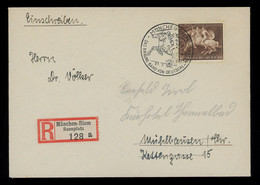 TREASURE HUNT [03202] Germany 1941 Brown Ribbon Horse Race Reg. Cover From München, With Special Cancellation - Storia Postale