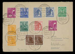 TREASURE HUNT [03207] Allied Occupation 1948 Cover To Bern, Switzerland Bearing Massive Multi-issue Franking - Zona AAS